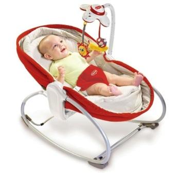 leżaczki - Wielofunkcyjny leżaczek-bujaczek-łóżeczko 3w1 - czerwony